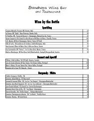 Wine by the Bottle - Stonehome Wine Bar