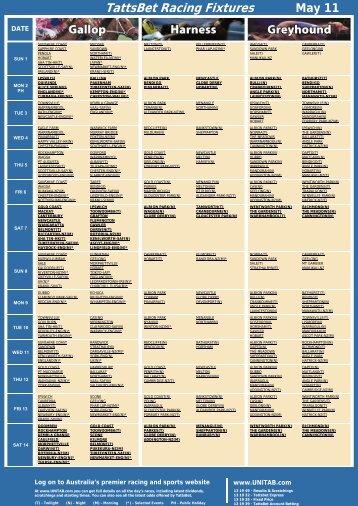 TattsBet Racing Fixtures May 11