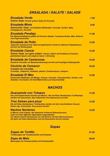 Speisekarte - El Mexicano