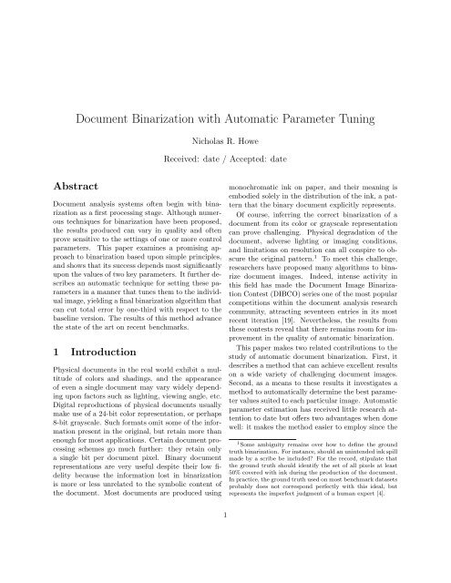 Document Binarization with Automatic Parameter Tuning