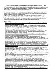 Zusammenfassung der Gemeinderatssitzung Zwettl/NÖ vom 25.6 ...