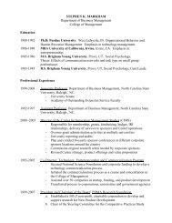 STEPHEN K. MARKHAM - Poole College of Management - North ...