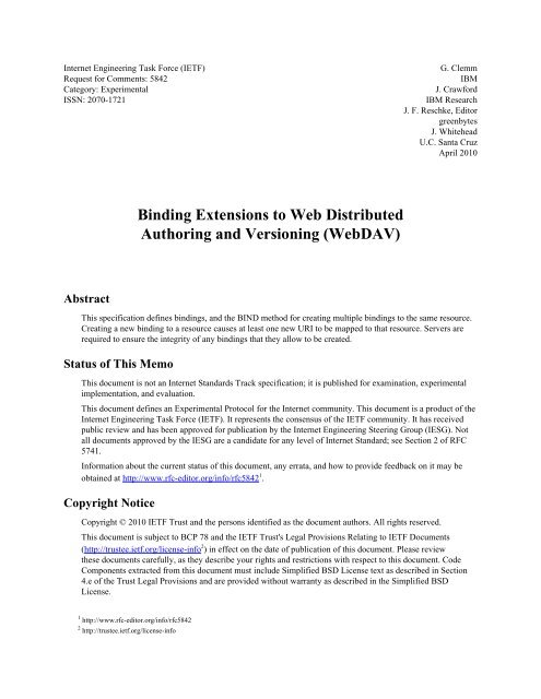 Binding Extensions to Web Distributed Authoring and Versioning ...