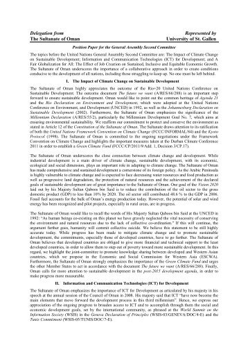 Position Paper for the5 Committee of the General Assembly - MUNOL