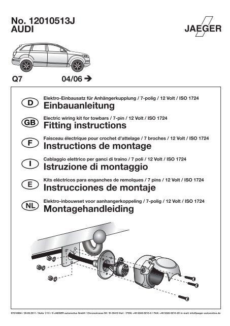 AUDI No. 12010513J Einbauanleitung Fitting ... - Autoteilefrau.eu