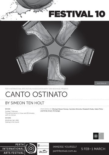 Canto Ostinato Program - Festival 10 - Perth International Arts Festival
