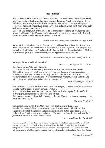 Pressestimmen - Helmut Lörscher Trio