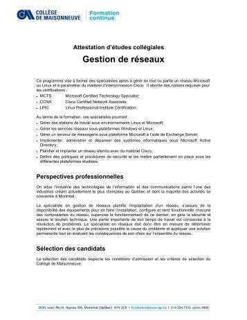 AEC Gestion de réseaux