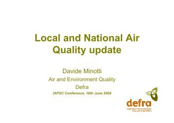 Local and National Air Quality update - iapsc