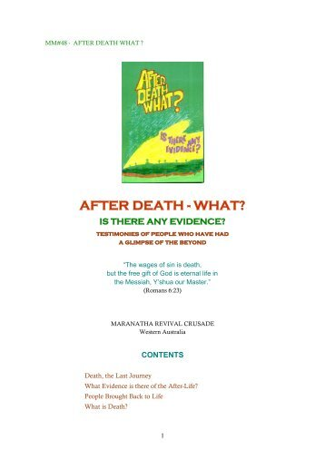 AFTER DEATH - WHAT? - Don Stanton, Maranatha Revival Crusade