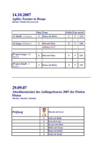 Agility-Turnier in Hoope Abschlussturnier des Anfängerkurses 2007 ...