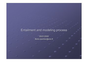 Entailment and modeling process - Boris Saulnier - Free