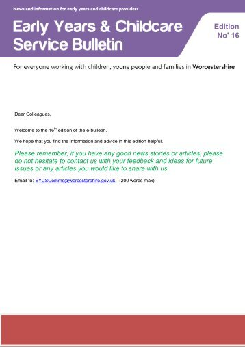 Download Bulletin Number 16 (PDF 847 KB) - Worcestershire ...