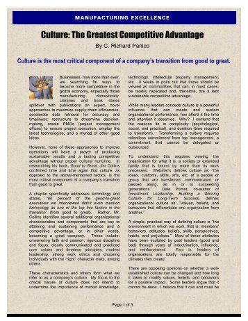 GCI - Dec 2004 - Culture, The Greatest Competitive Advantage