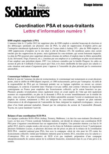 Solidaires PSA Lettre info numéro 1 - SUD Rail Metz Nancy