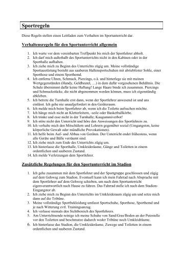 Regeln Sportunterricht Grundschule