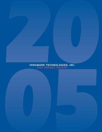 VERAMARK TECHNOLOGIES, INC. 2005 ANNUAL REPORT