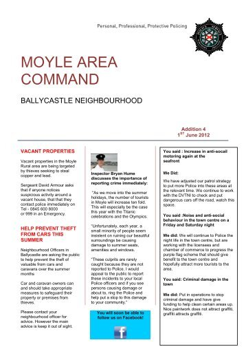 Ballycastle Newsletter June 2012 - Police Service of Northern Ireland