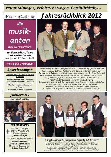Jahresrückblick 2012 - Musikverein Ferschnitz