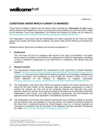 Grant Conditions - Wellcome Trust