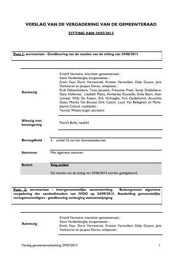 Sjabloon gemeenteraadsverslag - Bredene