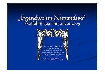 """""""Irgendwo im Nirgendwo"""" - Theatergesellschaft Wettingen"""