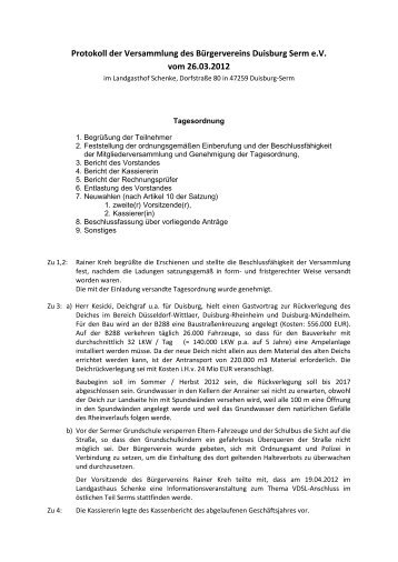 Protokoll vom 26.3.2012 - Bürgerverein Duisburg-Serm e.V.