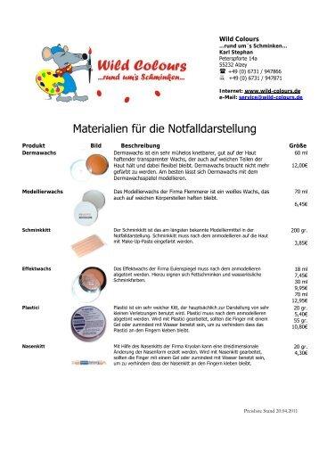 Materialien für die Notfalldarstellung - Wild-Colours, Marion Stephan