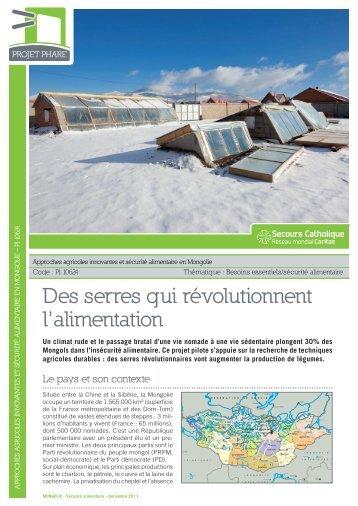 Fiche projet phare Mongolie PI 10624 - Secours catholique français