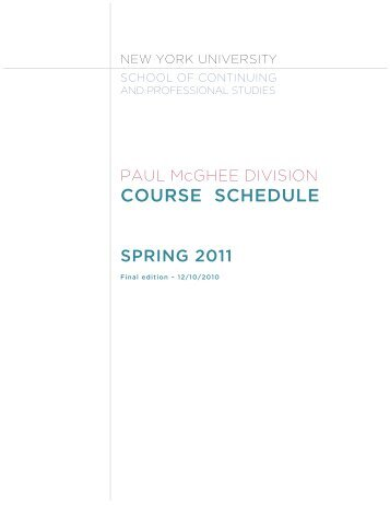 course schedule - School of Continuing and Professional Studies ...