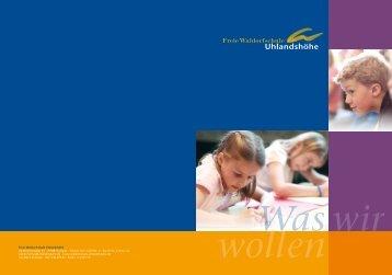 Schulprospekt - Freie Waldorfschule Uhlandshöhe