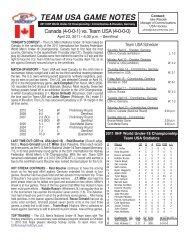 team usa game notes - USA Hockey