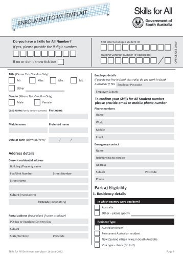 ENROLMENT FORM TEMPLATE   Skills For All  Enrolment Form Template