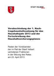 Haushaltsreden der Fraktionsvorsitzenden - Stadt Velbert
