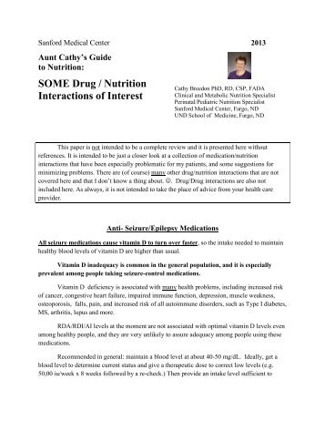 SOME Drug / Nutrition Interactions of Interest