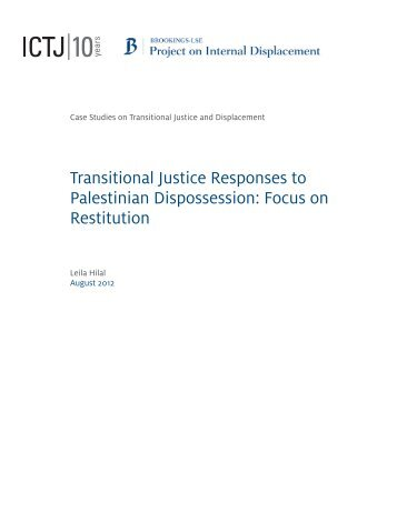 Transitional Justice Responses to Palestinian Dispossession: Focus ...