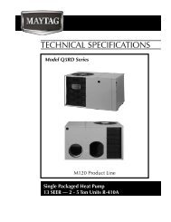 TECHNICAL SPECIFICATIONS - Nordyne
