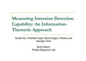 Measuring Intrusion Detection Capability - TAMU Computer Science ...