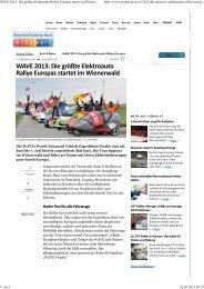 WAVE 2013: Die größte Elektroauto Rallye Europas startet im ...