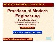 Course description - Tribology Group - Texas A&M University