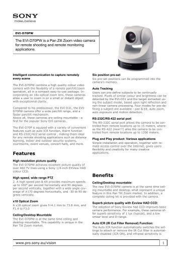 Sony : Product Information : EVI-D70PW (EVID70PW ... - Elvia CCTV