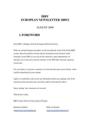 IBBY EUROPEAN NEWSLETTER 2009/2 1. FOREWORD