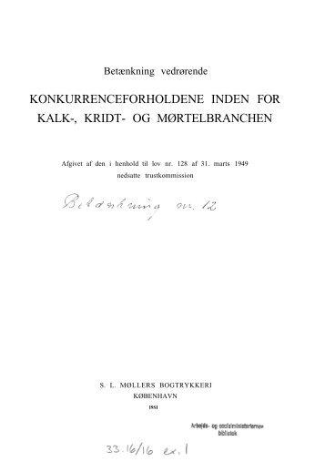KONKURRENCEFORHOLDENE INDEN FOR KALK-, KRIDT- OG ...