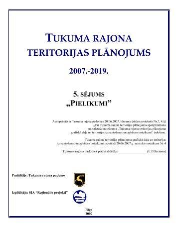 TUKUMA RAJONA TERITORIJAS PLĀNOJUMS