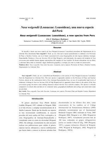 Nasa weigendii (Loasaceae: Loasoideae), una nueva especie del ...