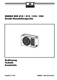REMKO RKS 510 / 513 / 518 / 524 Kombi-Raumklimageräte ...