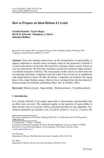 How to prepare an ideal 4He crystal - Laboratoire de Physique ...