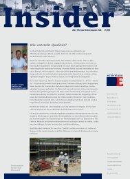 Insider 2/2003 Wie entsteht Qualität? - Estermann AG