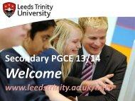Secondary PGCE 13/14 - Leeds Trinity University