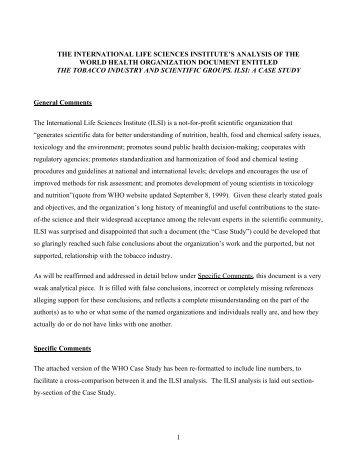 ILSI, Tobacco, and the World Health Organization - International Life ...